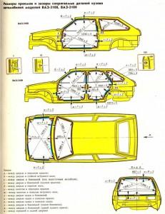 Ваз 2109 контрольные размеры кузова