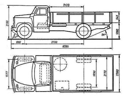 Габариты автомобиля ГАЗ-53
