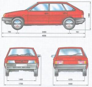 Размеры кузова Ваз 2109