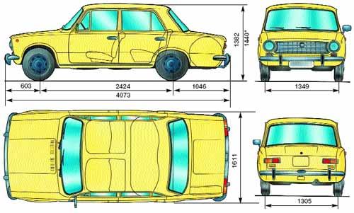 Основные кузовные размеры ваз 2101