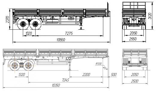 Размер кузова седельного тягача