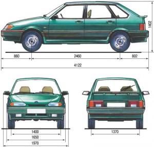 Ваз 2114 размеры кузова