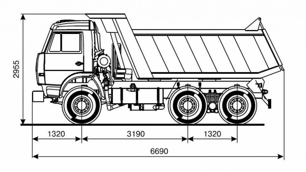 Габаритные размеры модели 65115
