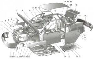 Ваз 2110 схема кузова фото