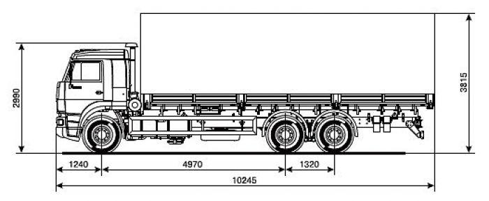 Размеры модели Камаз длинномер