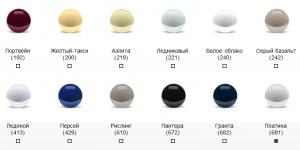 Цвета кузова современных Ваз
